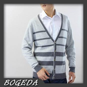 цена на Cashmere Sweater Men 's Cardigan V neck Gray Striped Fashion Style High Quality Natural fabric Free shipping Stock Clearance