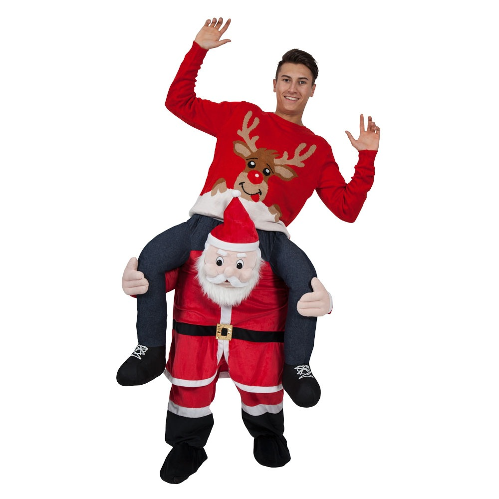 Santa Claus Ride-on Animal Costumes Christmas Halloween Party Piggyback Cosplay Clothes Carnival Father Adult Horse Riding Toys adult christmas santa claus costumes flocking rabbit fur fancy cosplay santa claus clothes good quality costume christmas suit