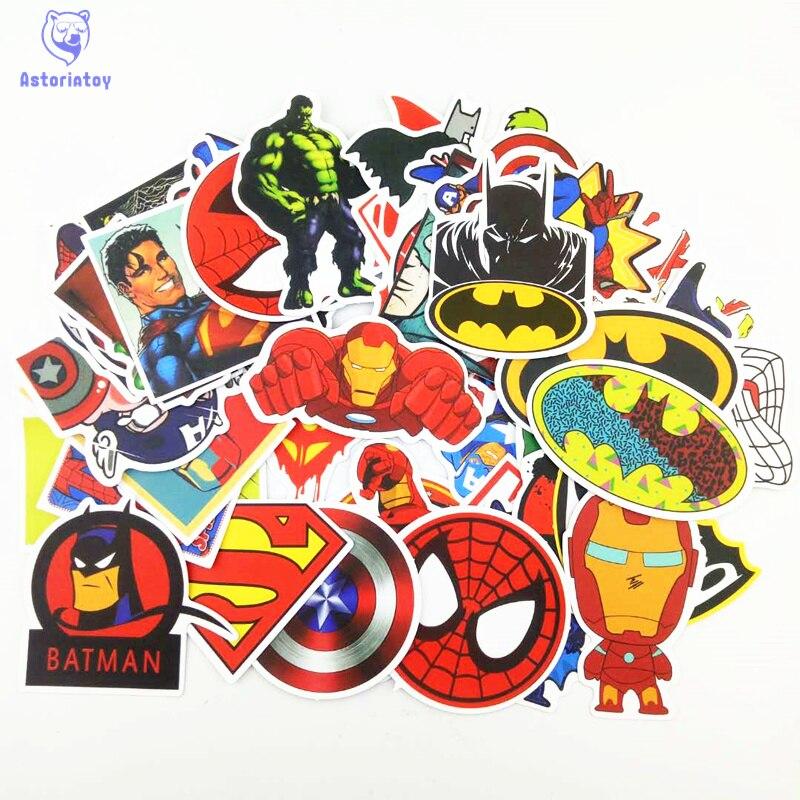 50PCS HOT Super Hero Stickers for kids laptop car decal fridge skateboard Batman Superman Hulk Iron