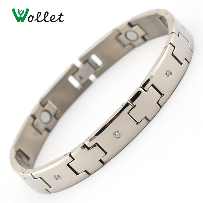 Wollet Crystal Health Energy Magnetic Titanium Bracelet Bangle for Mens Jewelry