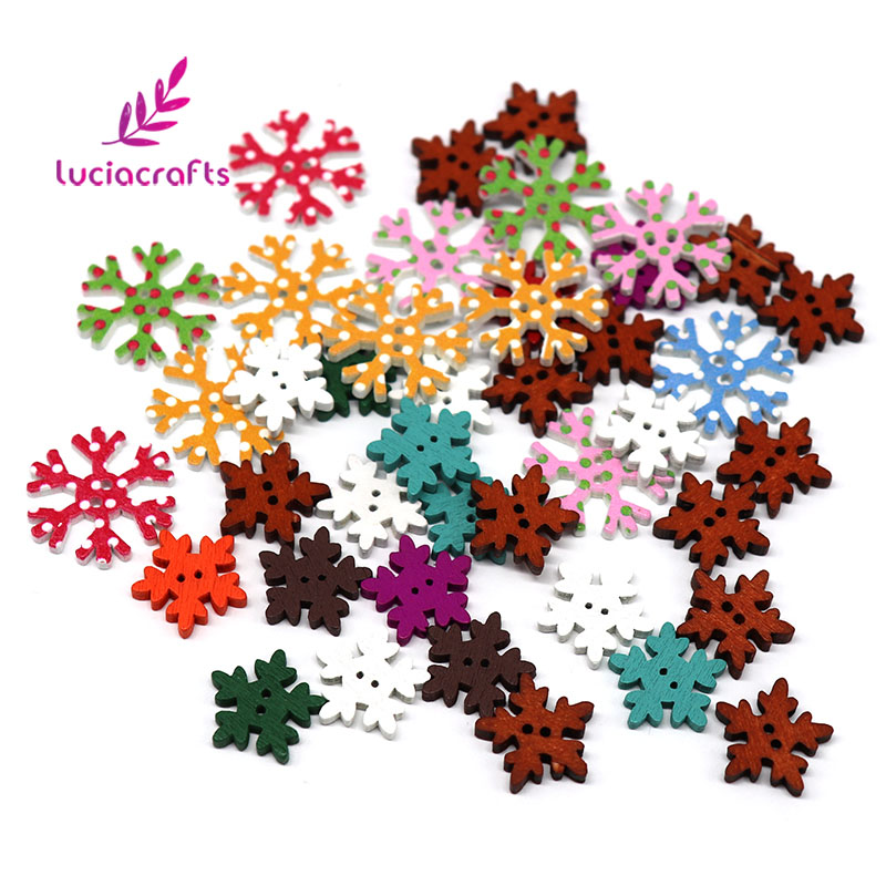 Lucia Crafts 12pcs 17mm/18mm/25mm 2-Holes Christmas Snowflake Wooden Buttons Sewing Scrapbook DIY Decoration E0119
