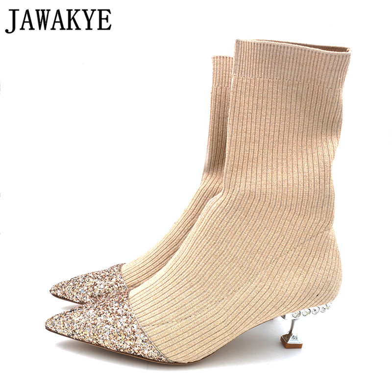 JAWAKY Bling bling sequin kitten Heel Knitted Ankle Boots for women rhinestone Stretch Short boots shiny crystal sock boots