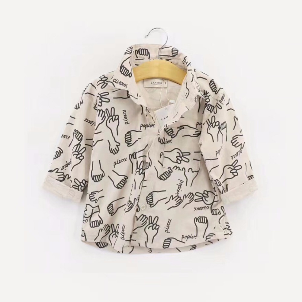 Spring Baby Boys Shirts Funny Girl Blouse Infant Toddler Boy Tops Autumn Clothes Kids Cotton Children Clothing Palm Print Design