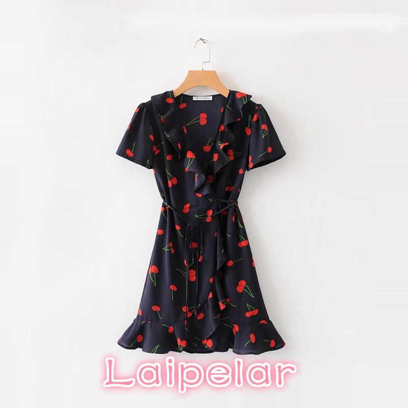 7178466a1c Summer wrap dress vintage cherry print bohemian ruffle dress elegant women  beach korean fashion boho party