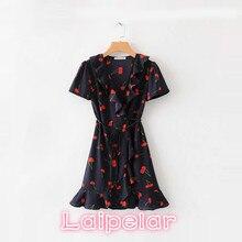 Summer wrap dress vintage cherry print bohemian ruffle dress elegant women beach korean fashion boho party dress Laipelar