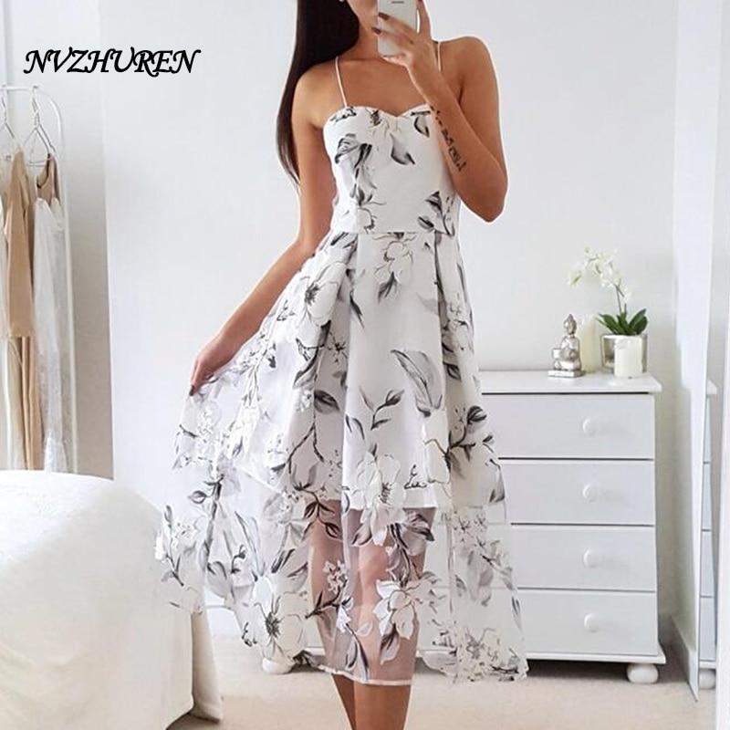 Sexy White Spaghetti Strap Summer Dresses