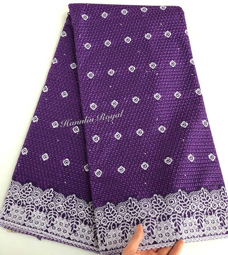 Purple Silver Both for men and women African Swiss voile lace fabric high quality 5 yards