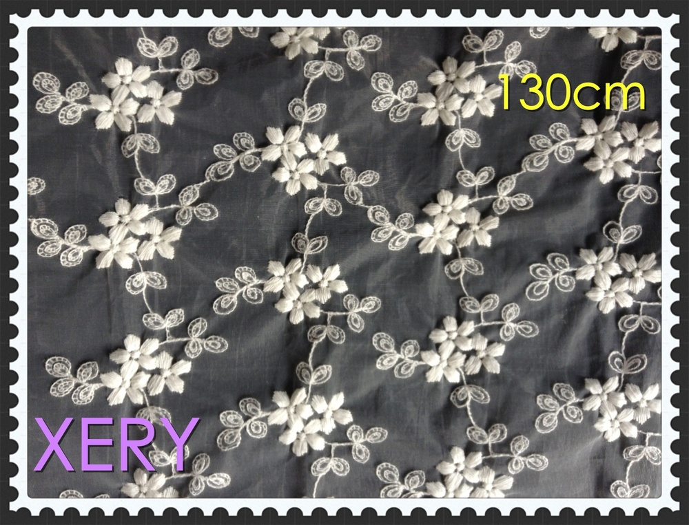 Free Shipping Cotton embroidery flower Jacquard Lace Fabric,130cm Width,white color,XERY509ak