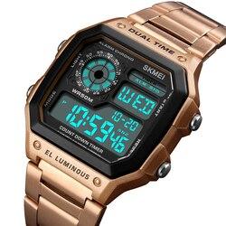 Reloj Deportivo cyfrowy mężczyźni zegarki mężczyźni wodoodporny Zegarek sportowy sportowe ze stali nierdzewnej Zegarek na rękę Relojes Deportivos Zegarek w Zegarki cyfrowe od Zegarki na