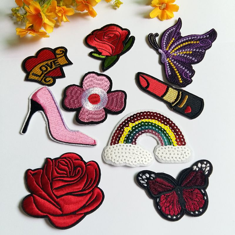 40pcs Cute Girls Iron On Patches Pretty Sewing On Patches Appliques for Clothes Jackets Hats Backpacks Jeans; Kids Children; Princess Rainbows Unicorns Flowers Rose Hearts Butterfly Animals DIY Crafts