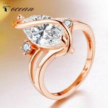 Tocean Rosa oro Color moda flor anillos de boda para las mujeres Oval lindo cúbico AAA Zircon compromiso Bijoux Bague tamaño 5 -12 W102