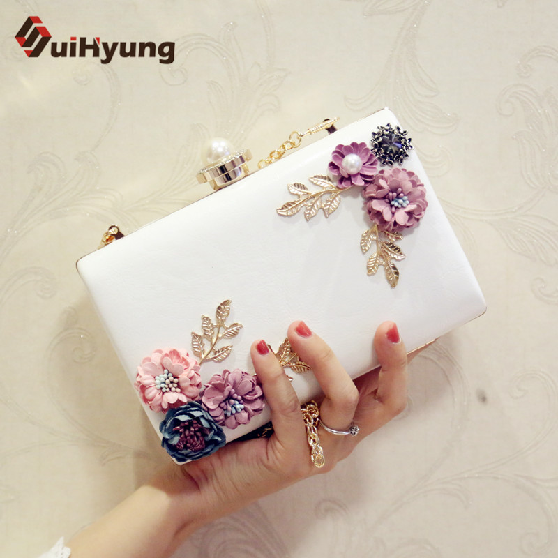 Suihyung Women PU Leather Handbag Casual Clutch Bags Purse Ladies Party Evening Bag With Flowers Wedding Pearl Clutch Bag Bolsas naivety new fashion women tassel clutch purse bag pu leather handbag evening party satchel s61222 drop shipping