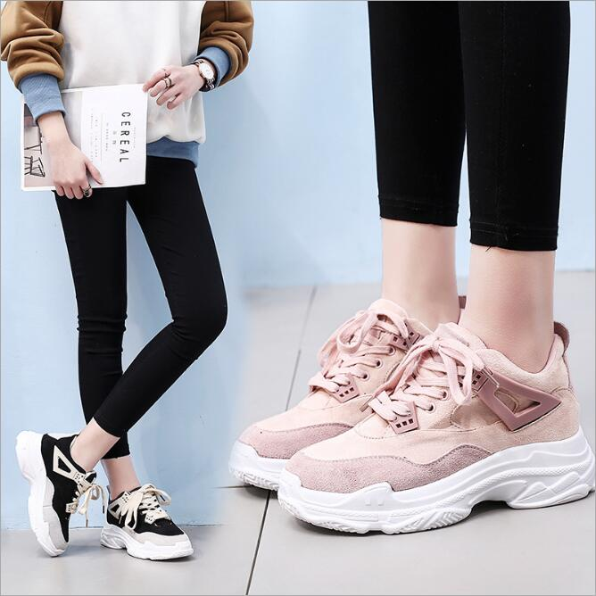 High Quality Walking Shoes Ins Fire Shoes Women Leather Spring New 2018 Korean Students Wild Sneakers Women Comfortable WK10 high quality walking shoes thick crust sneakers female ins the hottest shoes 2018 new small white women s sport shoes wk46
