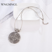 WNGMNGL Vintage Statement Choker Necklace Fashion Antique Sliver Hollow Round Flower Carving Pendant For Women Jewelry