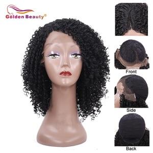 Image 5 - 14 אינץ קצר שיער קינקי קרלי סינטטי פאת תחרה מול פאה אפריקאי אמריקאי פאות עבור נשים שחורות זהב יופי