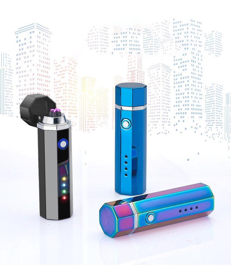 Electronic Plasma Lighter Pippe Double ARC USB Charge Weed For Cigarette image