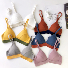 8 colors cotton bra and panty set deep v neck brattle seamless panties wire free women lingerie sexy thin cup underwear suits