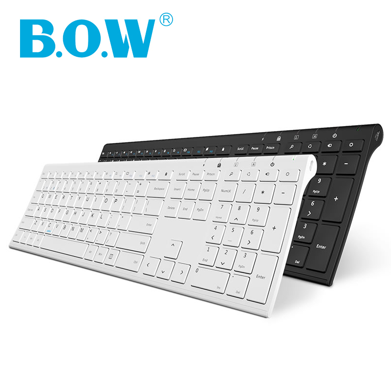 B.O.W Ultra Slim 2.4Ghz & 4.0 bluetooh Wireless Metal Keyboard for Computer PC Laptop,Cellphone, Full Size and Ergonomic DesignB.O.W Ultra Slim 2.4Ghz & 4.0 bluetooh Wireless Metal Keyboard for Computer PC Laptop,Cellphone, Full Size and Ergonomic Design