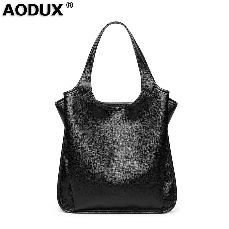 AODUX 2018 Fashion Large Original Leather Luxury Women Handbag 100% Genuine Cow Leather Tote Shoulder Bucket Style Female Bag aodux 2018 famous brand 100