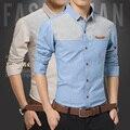 Toturn marca homens qualidade camisa 100% algodão de manga longa silm fit homens camisa bolso patchwork azul cáqui da moda camisas casuais masculino
