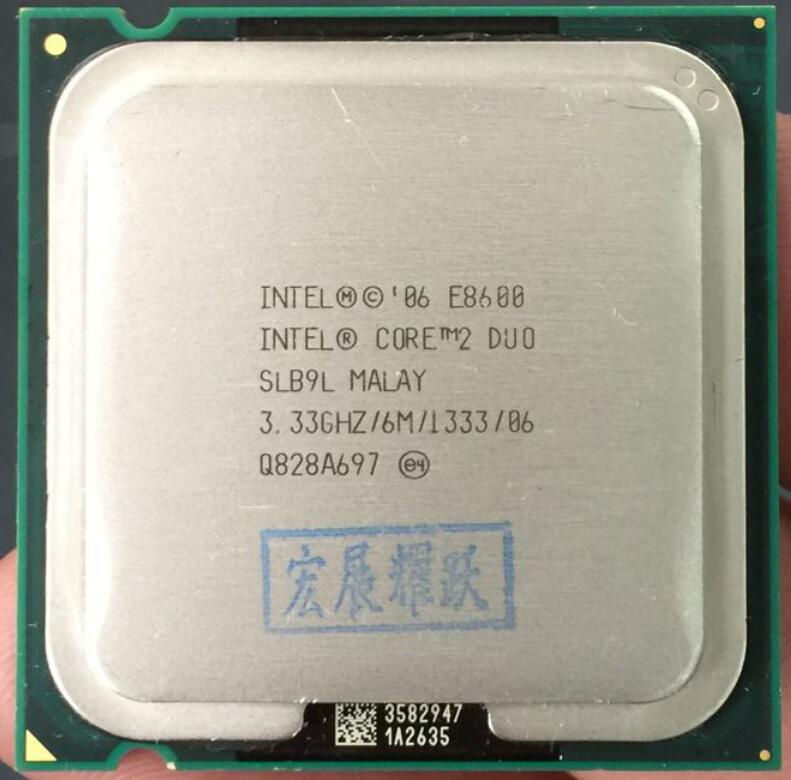 Intel Core 2 Duo Processor E8600 (6M Cache, 3.33 GHz, 1333 MHz FSB) SLB9L EO LGA775 Desktop CPU Intel central processing unit image