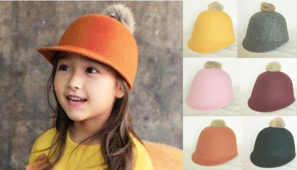 16pcs Cute Kid Spring Derby Infant Wool Felt Pom-pom Hats Style Babies Boys  Fall Bowler Hat Girls Winter Cap Children Caps f68d1bb458f