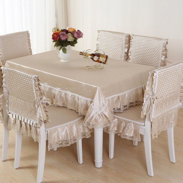 Top Grade Quilting Dining Table Cloth Chair Covers Cushion Tables Chairs Bundle Rustic Lace