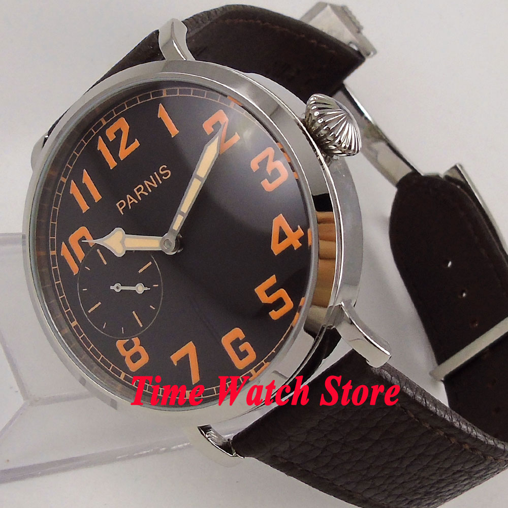 46mm parnis watch black dial orange Arabic numbers deployant clasp mechanical 6497 hand winding movement mens watch 274 цена и фото
