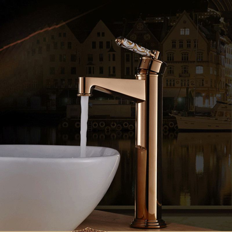Free Shipping DONA4713 Solid brass golden bathroom basin mixer tap with deck mounted rose gold basin sink mixer taps free shipping solid brass bathroom lavatory sink pop up drain with without overflow gold bathroom accessories