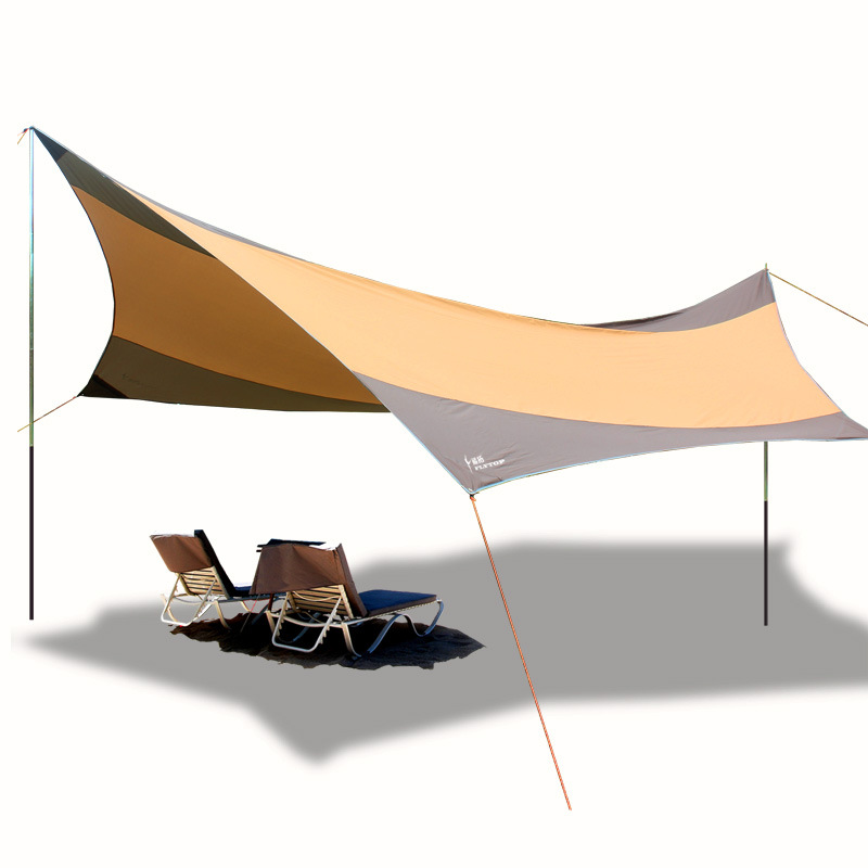 FLYTOP hexagon large size Awning 5-8 person Hiking Sun Shelter Camping Anti-UV Waterproof outdoor Beach awning iron rod 5 5 5 6m anti uv sun shelter summer outdoor garden sun awning sun shade car cover high quality beach awning