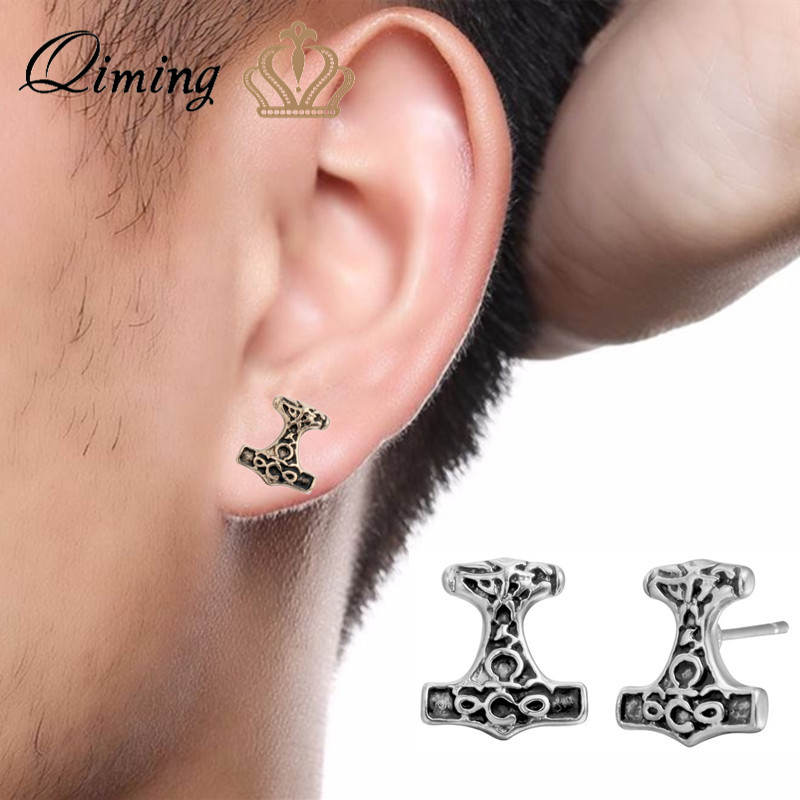QIMING Ethnic Men's Earrings For Women Thor Hammer Vintage Viking Jewelry Antique Stud Earrings Male Men Boyfriend Gift