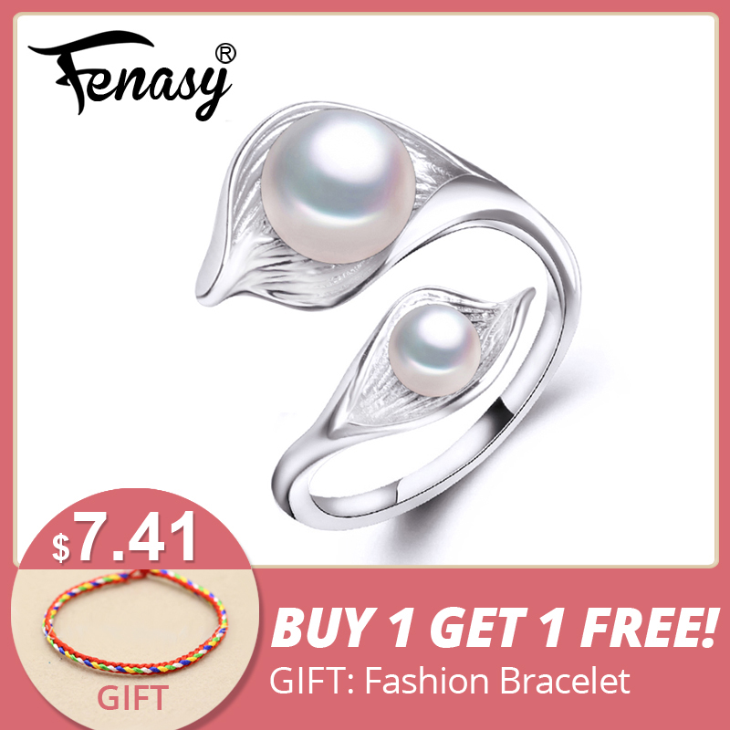FENASY sötvatten naturlig dubbel pärlring för kvinnor, bohemier Fashion Statement Cocktail S925 Sterling silverblad Ring 2018 Ny
