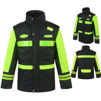 Black Workwear winter waterproof jacket with yellow reflective tape