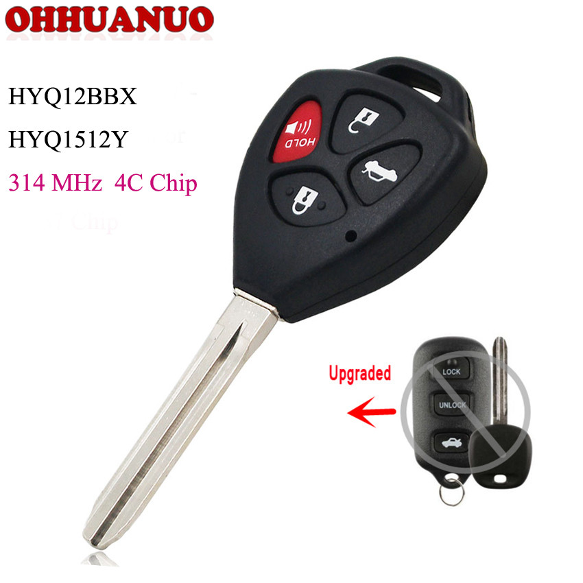 Hyq12bbx Hyq1512y A Great Variety Of Goods Delicious Upgraded Remote Key Fob 4 Butons For Toyota Avalon 1998-2004 With 4c Chip 314mhz Fcc Auto Replacement Parts Automobiles & Motorcycles