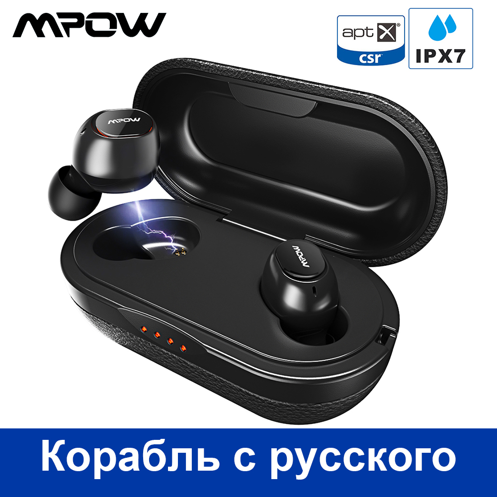 Mpow T5 Aptx TWS Écouteur Bluetooth 5.0 IPX7 Étanche Sport Écouteurs Avec 5H Playtime Pour Iphone X Huawei P20 Lite