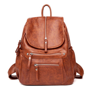 Image 3 - Women Backpack high quality Leather  Fashion school Backpacks Female Feminine Casual Large Capacity Vintage Shoulder Bags