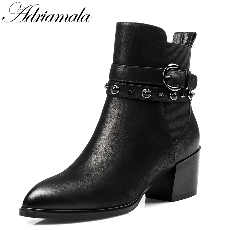 2017 Pointed Toe Thick Heels Genuine Leather Ankle Boots For Women Autumn Winter Buckle Rivets Fashion High Heels Short Boots fashion hot sale genuine leather low heels pointed toe rivets buckle square heel autumn winter women ankle boots