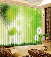 Modern Green Curtain dandelion Children Curtains Blackout Thick Curtain Fabric 3D Drapes Custom any size