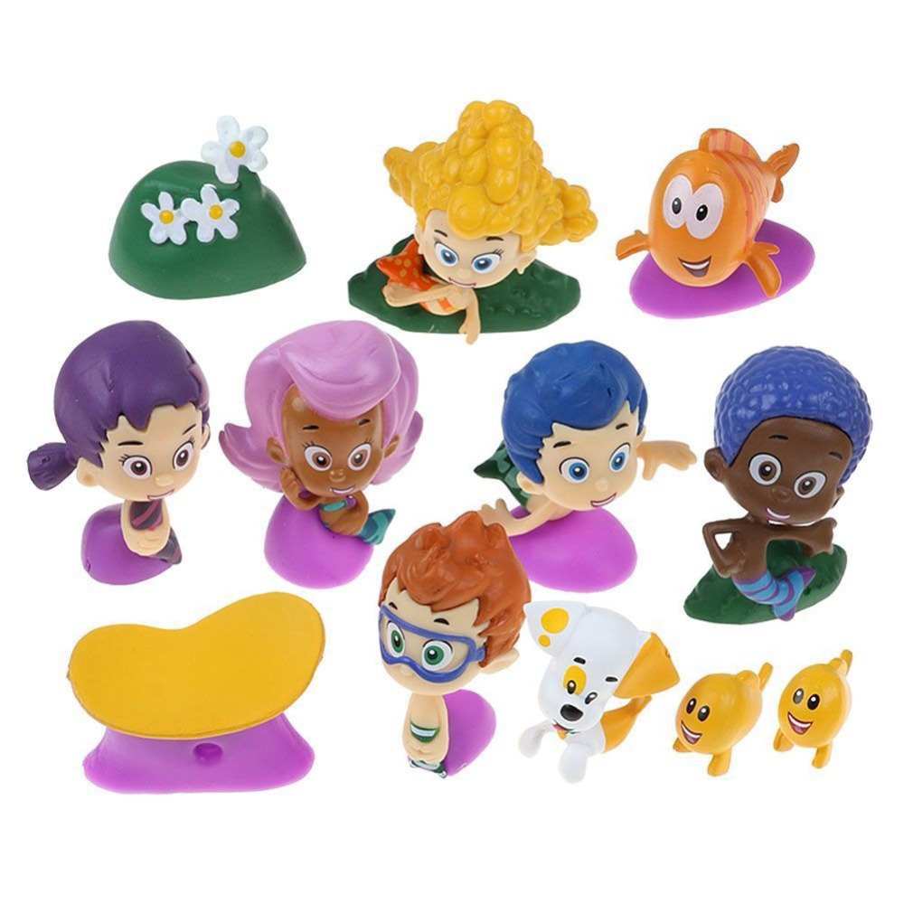 US $8 62 20% OFF|12pcs/set Bubble Guppies Bubble Puppy Deema Goby Gil Oona  Underwater Scenery Mini Cute Figures Dolls Toys Gift-in Action & Toy