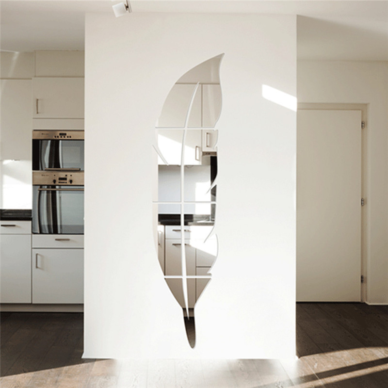 Big size 120 30cm feather mirror surface wall stickers diy for Decoration a coller sur porte