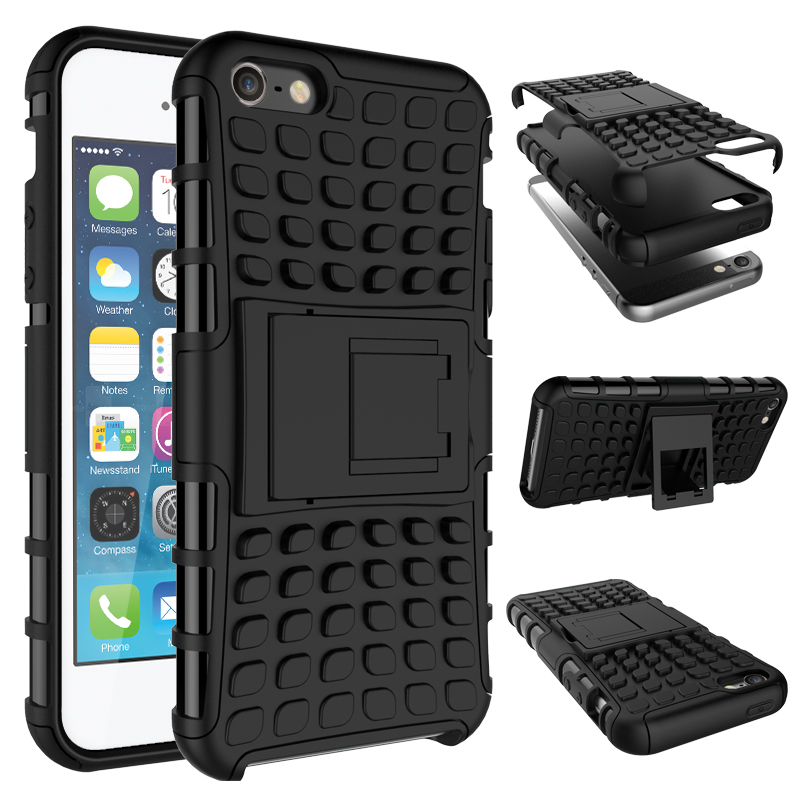SE <font><b>Case</b></font> Hybrid Soft Rubber Silicone + Hard PC Shell <font><b>Phone</b></font> <font><b>Case</b></font> For <font><b>Apple</b></font> iPhone 4 <font><b>4S</b></font> 5 5S SE <font><b>Phone</b></font> <font><b>Case</b></font> Shockproof Stent Cover