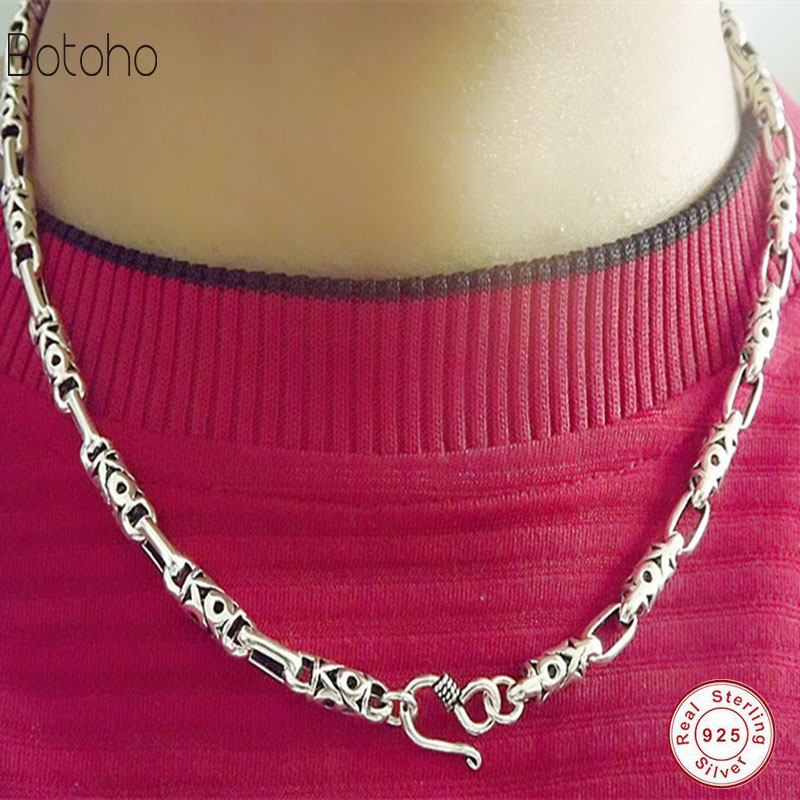 925 sterling silver men's silver chain fashion men's jewelry Thai silver vintage charm necklace sterling silver necklace men yookie yk180 silver