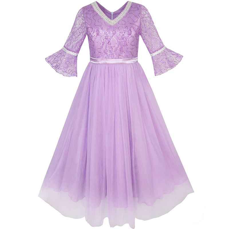 Flower Girl Dress Lace Sequin V-neckline Pageant Wedding 2017 Summer Princess Party Dresses Children Clothes Size 4-14 Sundress kids girls crib shoes baby items for small first walkers sapatos infatil soft sole baby shoes moccasin footwear 603043