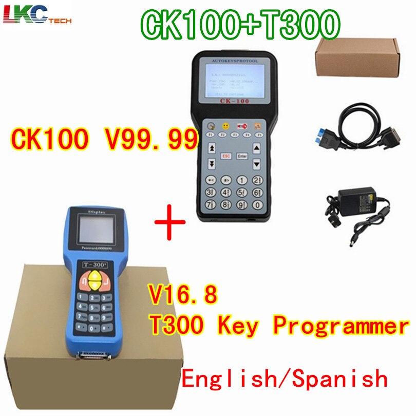 Цена за DHL бесплатно лучшие T300 Auto Key Программист V16.8 английский/испанский Язык дополнительно + CK100 V99.99 Профессиональные Авто Ключи программист