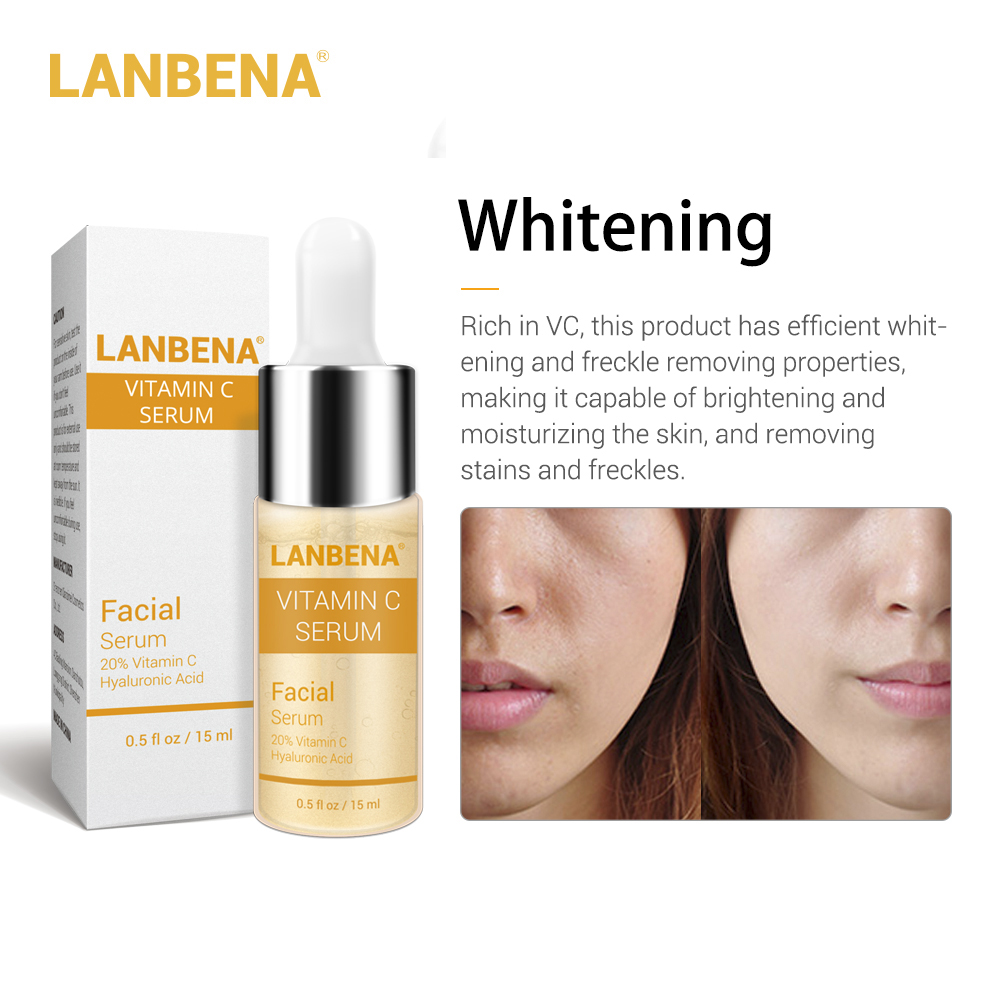 LANBENA <font><b>Vitamin</b></font> C Whitening Serum Snail Hyaluronic Acid Face Cream Remover Freckle Speckle Fade Dark Spots Anti-Aging Skin Care image