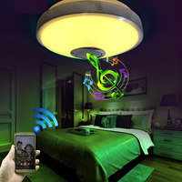 KINLAMS Modern Bluetooth Speaker LED Ceiling Light 12W 18W 24W 36W Wireless Music Play Lamp Acrylic