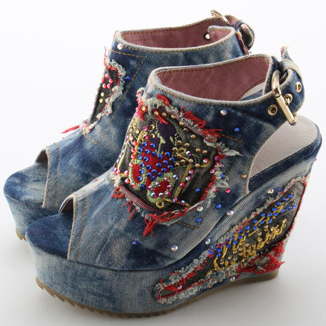 Peep Toe Denim Blue Jean Wedge Sandal
