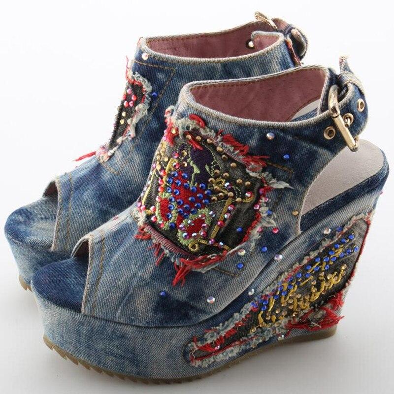 Desinger sapatos de verão salto alto mules aberto dedo do pé denim azul jeans sandálias marca luxo mulher cunhas peep toe cowboy tornozelo botas - 3