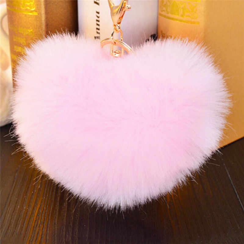 แฟชั่น Fluffy พวงกุญแจ Soft Heart รูปร่างน่ารัก Pompons Faux กระต่าย FUR Ball Car กระเป๋าถือ Key Ring Multicolor