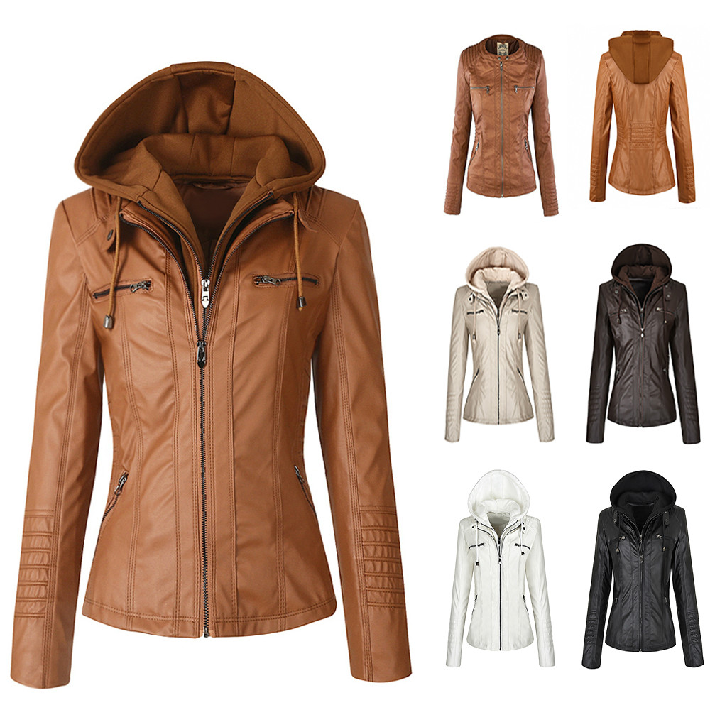 Faux Leather   Jacket   Women Hoodies Gothic Motorbike   Basic   PU   Jacket   Coats Outerwear Hooded Zipper Waterproof Ladies Coat